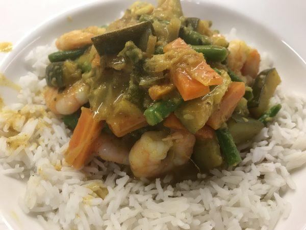 Prawn and vegetable korma