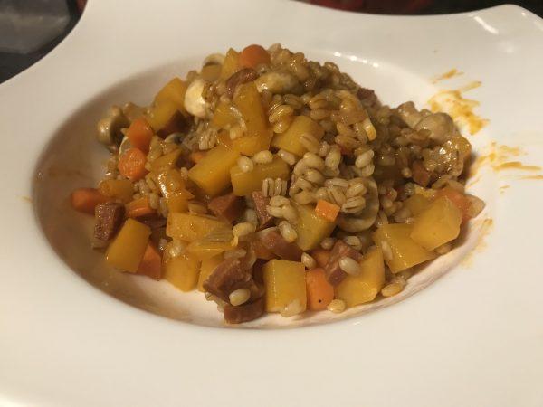 Chorizo, root veg and barley risotto