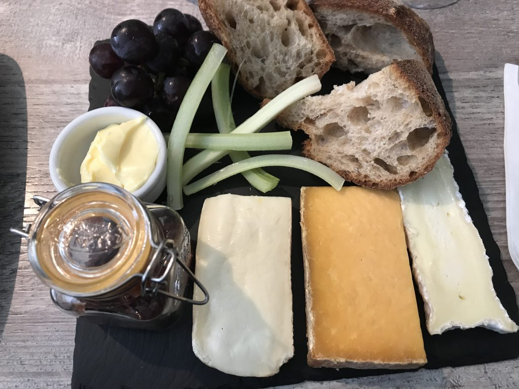 Cheese board with a selection of 3 cheeses
