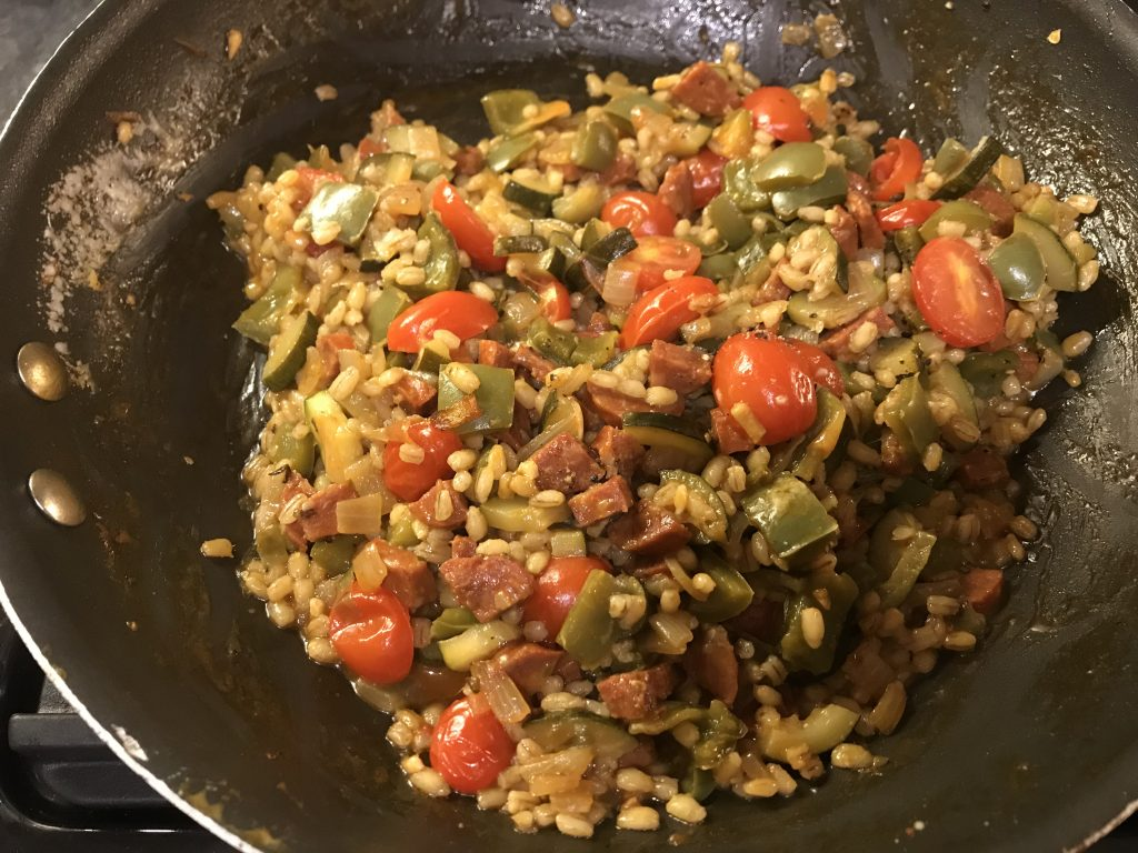 Chorizo barley risotto in the pan