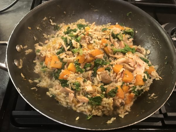 Mushroom, kale and squash risotto with smoked salmon