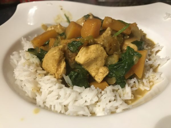 Chicken, pear and butternut squash curry