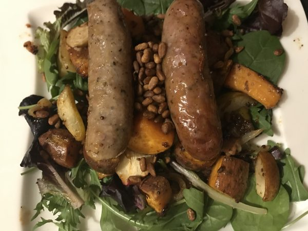 Roasted sausage, sweet potato, pear and apple