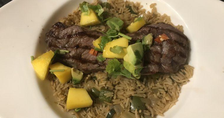 Spicy Rice with Steak & Mango Salsa