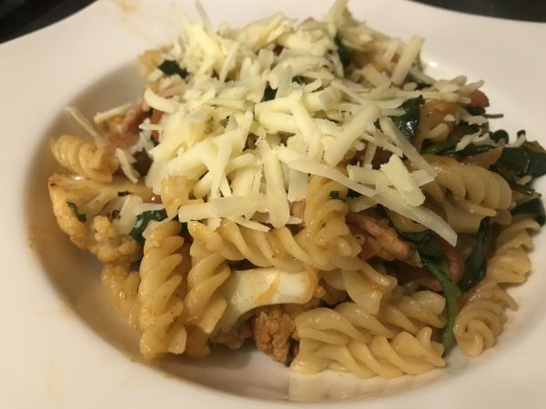Cauliflower and bacon pasta