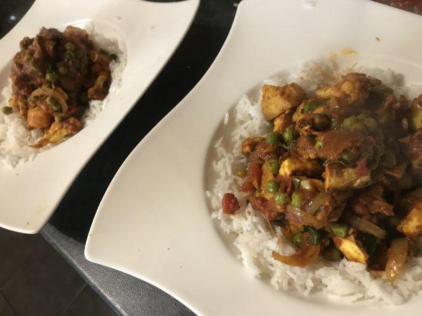 Paneer and cauliflower curry