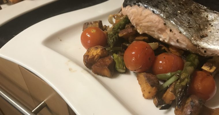 One Pan Roast Salmon & Asparagus