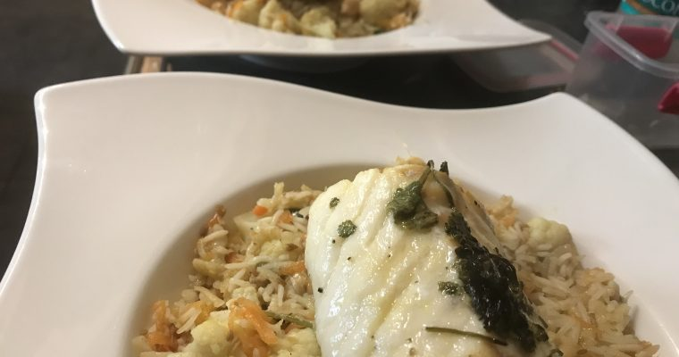 Lemon & Coriander Cod with Carrot & Cauliflower Pilaf