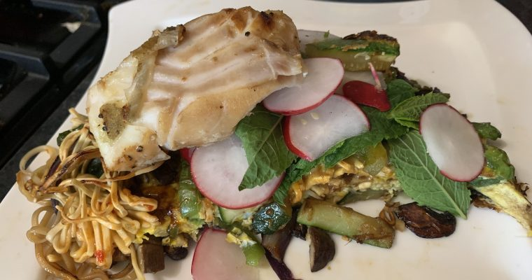Hoisin Cod with Crispy Omelette Cake