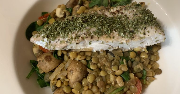 Roast Coley with Green Lentils & Vegetables