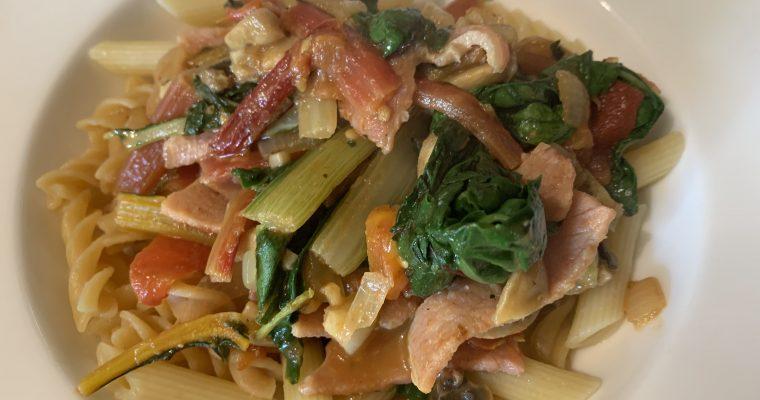 Bacon, Mushroom & Chard Pasta