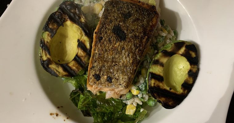 Salmon with Griddled Avocado & Barley Salad