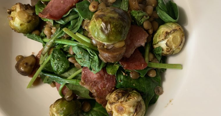 Roast Bacon, Sprout & Chestnut Lentil Salad