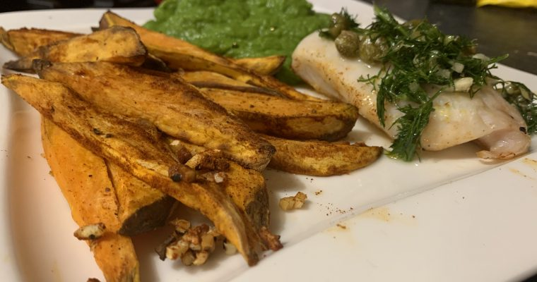 Healthy Fish & Chips with Broccoli Pea Puree
