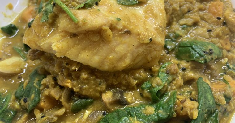 Lentil, Spinach & Sweet Potato Dahl with Fish